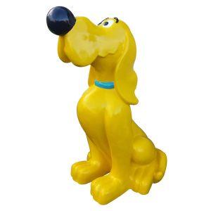 zittende gele kunststof hond