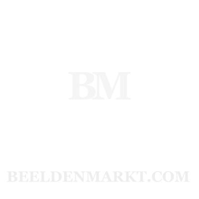 Koe liggend  - zwart bont - 39cm